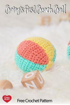 Baby's First Beach Ball free crochet pattern in Baby Hugs yarn. A soft, crocheted ball is easy for baby to hold and it's soft enough for safe play. Be sure to crochet tight enough that the fiberfill doesn't come through the crochet surface easily. Crochet Ball, Crochet Toys, Free Crochet, Baby Crafts To Make, Diy Montessori Toys, Baby Boy Quilt Patterns, Toy Craft, Crochet Patterns For Beginners, Crochet For Kids