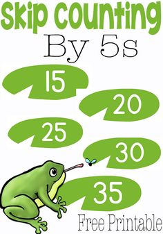 Here's a frog-themed game for skip counting by 5s.