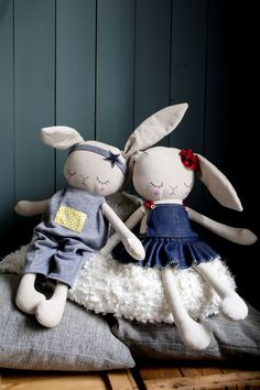 Handmade Bunny Cloth Dolls Peanut And Elliott