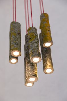 Furniture and decor designer Jay Watson's features a main ingredient literally from his own backyard. He hand picks tree branches to drill out and fit the latest kind of low-energy-use LED, resulting in a hanging light with preserved moss and wood textures. Perfect for lights over stairs. Wood or thick branch lights. | Tiny Homes