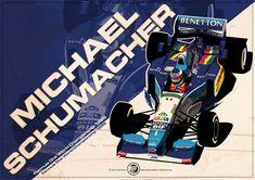 Michael Schumacher - 1995 by EvanDeCiren on deviantART Michael Schumacher, Formula 1, Car Illustration, Automotive Art, Indy Cars, Vintage Racing, Benetton, Art Cars, Retro