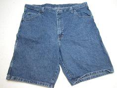 555d9e42 Mens Wrangler Carpenter Shorts Blue Denim sz 42 100 Cotton Measure 42X10 5