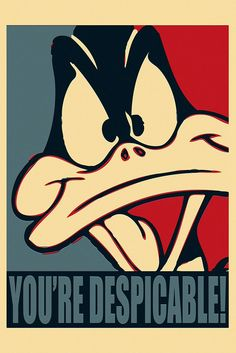 Daffy Duck Looney Tunes You're Despicable Funny Humor Poster Les Looney Tunes, Looney Toons, Looney Tunes Cartoons, Funny Cartoons, Looney Tunes Funny, Funny Humor, Classic Cartoon Characters, Classic Cartoons, Daffy Duck Quotes