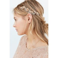 Golden Flower Halo Headband ($20) ❤ liked on Polyvore featuring accessories, hair accessories, hair, urban outfitters headbands, hair band headband, flower hair accessories, flower headbands and urban outfitters