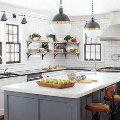 White Kitchen Cabinets With Gray Brick Tile Backsplash Transitional