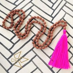 We just love tassel-jewellery 💕 like this piece here - necklace Arjuna Rudraksha pink Tassel Jewelry, Tassel Necklace, Jewellery, Hippie Chic, Bohemian Style, Beach Towel, Boho Fashion, Tassels, Textiles