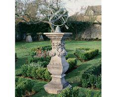 Georgian pedestal with bronze armillary sphere sundial
