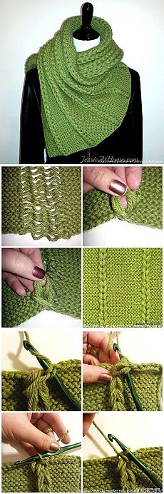 Knit dropped stitches crochet chain