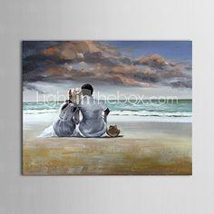 pintura al óleo de las personas amantes de playas con lienzo pintados a mano marco de estirado - USD $72.99