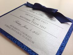 Silver & Navy Glitter Save-The-Date // Bat by PeoniesPolkaDots
