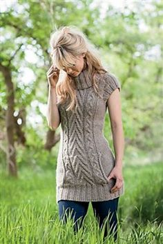 These pullover sweater knitting patterns can be knit at a shorter length for tunics or longer for dresses. I selected tunic patterns that are long enough to go to mid-thigh or below and be worn with jeans, leggings, tights or by themselves.