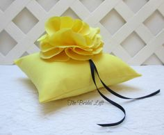 Yellow Wedding Ring Pillow, Yellow Ring Bearer Pillow, Matching Items Available, by BridalLoft, on Etsy