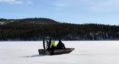 Winter fishing with a hydrocopter in Lake Miekojärvi in Pello in Finnish Lapland - Travel Pello - Lapland, Finland Winter Fishing, Lapland Finland, Fishing Photos, Salmon Fishing, Ice Fishing, Europe, Boat, River, World