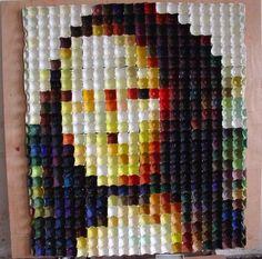 Mona Lisa de Leonardo Da Vinci con hueveras de cartón grandes  #DIY #HOWTO #ecología #reducir #reciclar #reutilizar