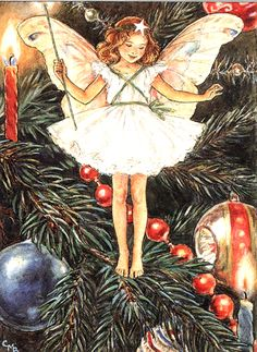 The Christmas Tree Fairy from Cicely Mary Barker's Flower Fairies Collection. Merry Christmas to all. (via The Christmas Tree Fairy from Cicely Mary … Cicely Mary Barker, Christmas Tree Flowers, Christmas Tree Fairy, Merry Christmas, Xmas Tree, Christmas Decor, Vintage Christmas Cards, Christmas Images, Christmas Graphics