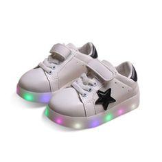 Weiß Kinder Stern Schuhe Mit LED Sohle