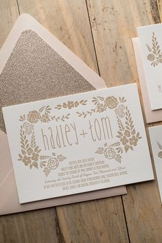 Beautiful Floral Letterpress Wedding Invitations, Digital Printed Wedding Invitations, Blush and Gold Wedding, Glitter Wedding Invitations, Floral Wedding Invitations, Exclusively designed by Rich Girl Collections for JUST INVITE ME