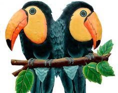 Toucan Metal Art - Metal Wall Decor, Hand Painted Metal Art,  Tropical Bird - Toucan Parrots Wall Hanging - Metal Wall Art - Parrot, K-7021