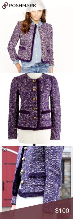 EUC Jcrew Purple Tweed Lady Jacket EUC J. Crew Purple Tweed Lady Jacket. Rich purple color, with white and tan tweed strands woven throughout. Great piece for work or fall!!! J. Crew Jackets & Coats Blazers