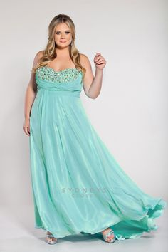 Plus Size Plus size strapless chiffon gown with sequined bodice