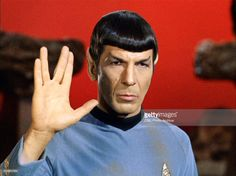 Leonard Nimoy as Mr. Spock in 'Star Trek: The Original Series' episode 'Amok Time'. Spock shows the Vulcan salute, usually accompanied with the words, 'Live long and prosper.' Original airdate, September 15, 1967. Image is a screen grab.