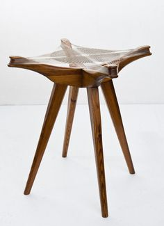 "Andrzej Pawłowski, ""Woven"", stool made by Antoni Fic, 1954, private collection, photo: Michał Korta"