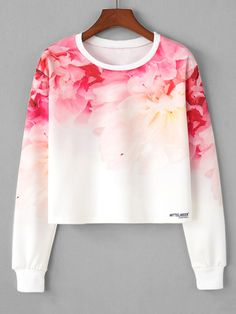 To find out about the Ombre Flower Print Crop Sweatshirt at SHEIN, part of our latest Sweatshirts ready to shop online today! Crop Top Outfits, Teen Fashion Outfits, Mode Outfits, Outfits For Teens, Girl Outfits, Stylish Dresses For Girls, Cute Dresses, Girls Fashion Clothes, Girl Fashion
