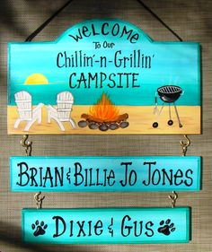 Welcome to our Chillin' Grillin'  Camp Campsite Camping Sign  with your name!  Beach Fire Grill Flamingo Custom Personalized 2 name boards