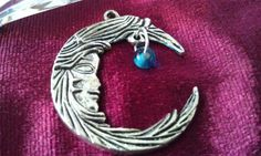 Pendant Large Crescent Moon and Crystal by CherylsGoodStuff, $5.00