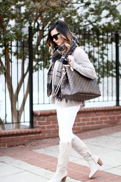 The perfect Fall neutral outfit via For All Things Lovely | Dream sweater, Current/Elliott demin, Barbor neutral plaid scarf, UGG boots, Louis Vuitton 'Neverful GM', David Yurman bracelet stack, Cèline sunglasses and David Yurman rings