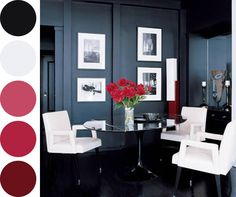 Black and White Interiors with a pop of red!
