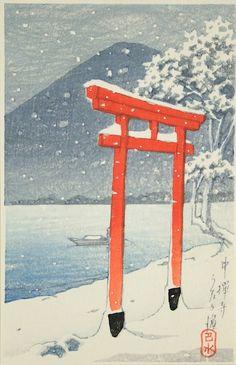 Kawase Hasui : Chūzen Temple, Utagahama (Chūzenji Utagahama) at Davidson Galleries
