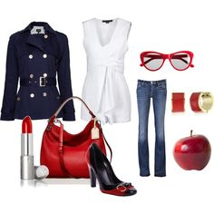 navy and red. Love the jacket!