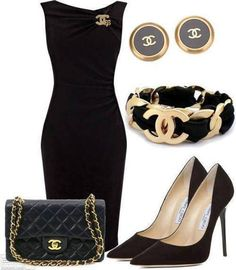Chanel bag, earrings and bracelet with little black Chanel dress and jimmy choo shoes
