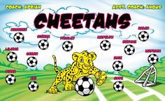 Cheetahs-44673  digitally printed vinyl soccer sports team banner. Made in the USA and shipped fast by BannersUSA. www.bannersusa.com