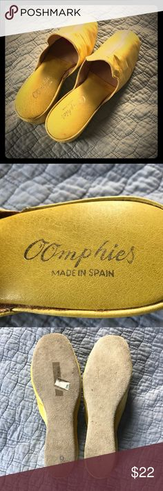 Vnt Oomphies Slippers When you need a pair of house shoes, what you really need are some Oomphies. These are vintage. They're rare. They're cool. They're in amazing condition for their age. They look great with pj's, robes, lingerie, dresses, and housecoats! Plus, they're a great deal. Most importantly, though, they are hella Coomphie! 🤔  Soft leather upper. Suede bottoms. Women's Size 9. Should work fine for an 8 or 8.5 also because of the style and fit. Vintage Shoes Slippers