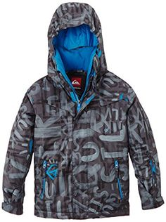 Quiksilver Snow Big Boys' Mission Printed Winter Coat, Gray, Large/14