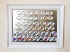 Magnetic nail art organizer. I want to do this. It would free up so much space in my helmer. Lol.