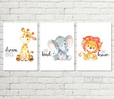 Sweet safari nursery decor set of printable wall art! Dream big giraffe, be kind elephant and be brave lion print to display in a nursery. A gender neutral print. Four sizes are included so you can decide which you prefer. The set of six safari animals is available too: