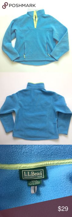 "L. L. Bean // Snap Neck Fleece Pullover EUC snap neck fleece pullover with zipper pockets from LL Bean. Light blue with lime green trim. Fleece has typical, but light signs of wear from washing. No stains or holes. About 21.5"" across chest, 21.75"" from shoulder to hem in front, 22.25"" at back🚫trades🚫 smoke free home L.L. Bean Sweaters"