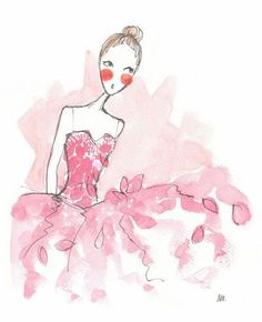 Noomie Doodles: Noomie, Ballet News Illustrated. Art And Illustration, Ballerina Illustration, Ballerina Sketch, Isadora Duncan, Watercolor Art, Watercolor Fashion, Painting & Drawing, Pretty In Pink, Cool Art