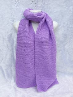 Hand knitted long and wide scarf in litmus mauve £25.00