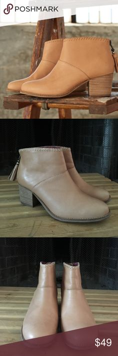 TOMS LEILA Boots 😍 Tom's Leila Light Brown Leather booties with zip tassel back and stacked wooden heel, they were gently worn twice, great preowned conditon, true to size 😍 TOMS Shoes