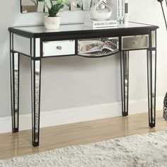 Coaster Accent Tables Black Console Table with Mirror Accents - Coaster Fine Furniture