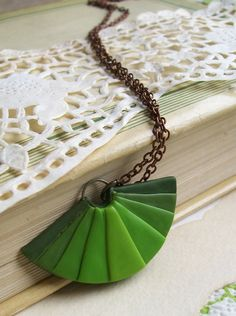 Ombre charm necklace fan pendant necklace forest green banana green dark green color progression geometric necklace #minimalist #green #charm #necklace HunkiiDorii quirky clay jewelry