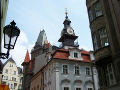 The Jewish Town Hall in Josefov, Prague, Czech Republic, was constructed adjacent to the Old New Synagogue on the corner of Maiselova and Červená Ulice