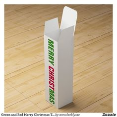 Green and Red Merry Christmas Typography Wine Box