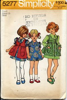 Dress and Smock Pattern - Girl Size 6 - Vintage Uncut Simplicity 5277