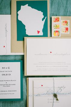 Wedding #Invitations by @Minted | Love the little heart and the key! See the wedding on SMP - http://www.StyleMePretty.com/2014/01/08/grand-geneva-resort-wedding/ Carly McCray Photography