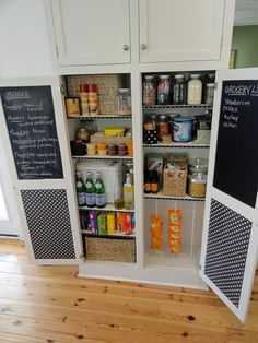 Chalkboard Paint Ideas for the Kitchen: When she uses the last of an ingredient she makes note of it on the grocery list inside the pantry door. From DIYnetwork.com